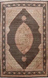 Traditional Tebriz Hand-knotted Geometric Oriental Wool/ Silk Area Rug 9x12 ft