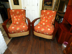 Vintage Set of Palecek natural seagrass rope with Dark wood Lounge Chairs