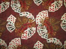 DECK OF CARDS FULL HOUSE POKER GAME BROWN COTTON FABRIC FQ