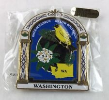 Washington State Bird and Flower Refrigerator Collectible Painted Metal Magnet