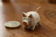 Handmade Hand Carved Little Wooden Pig Animal Crafts Home Decor Farm Pigs Cute
