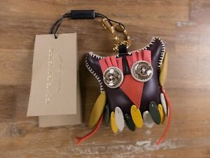 BURBERRY leather Mavis The Owl charm keyring authentic - New in Box