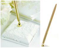 "Ivory Cream Lace Pen & Pen Holder Set Wedding ""Timeless Treasure"""