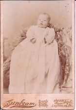 Antique Cabinet Card Photo Beautiful Baby in Christening Gown 1898 Los Angeles