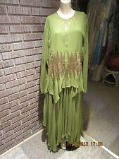 Women's Vintage 70's 80's Ashro Sheer Green Asymm Sequin Sheer Jacket/Dress 16