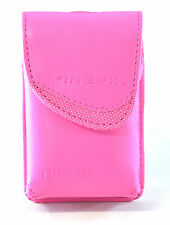 Fujifilm Bright Pink Compact Camera Case Faux Leather Belt Loop Grey Lined