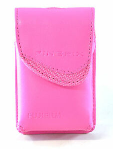 Fujifilm Bright Pink Compact Camera Case Faux Leather Belt Loop Pink Lined