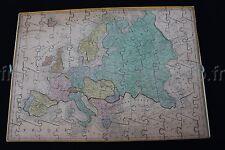 Ancien Jeu puzzle BOIS ATLAS GEOGRAPHIQUE FRANCE EUROPE MONDE HEMISPHERE 43*31