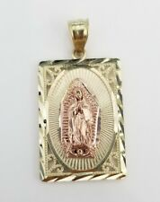 10k Yellow Gold Virgin Mary Guadalupe Medallian Square Pendant Charm Religious