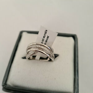 Diamond Crossover Ring set in Rhodium over Sterling Silver