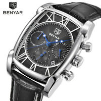 BENYAR 3ATM Water Resistant Date Genuine Leather Band Men's Quartz Wrist Watches
