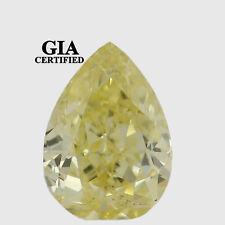 GIA CERTIFIED 0.56 Cts Natural Intense Yellow Color Pear Loose Diamond L4706 Bkk
