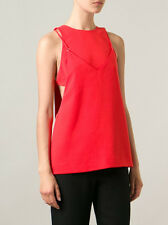 NWT$405 T by Alexander Wang Layered Stretch-Crepe Top Blouse Orange [SZ 4] #B185