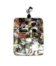 PENDANT/NECKLACE Stunning Iridescence Mosiac Paua Abalone Shell LARGE RECTANGLE