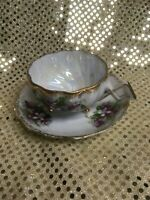 Vintage Hand Painted Tea Cup & Saucer. Beautiful Iridescent Cup Interior