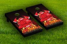 Fire Dept. Cross Axe Cornhole Board Wraps Laminated Sticker Set Skin Decal