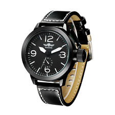 WINNER Dress Wrist Watch Luxury Gold Automatic Mechanical Calendar Leather Mens