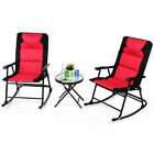 3pcs Folding Table Chair Set Cushioned Table Garden Furniture Outdoor Use Red