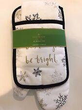 """Kate Spade """"Snowflakes""""  potholder, oven mitt, & kitchen towel,Holiday,cotton"""