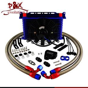 13Row 10AN Oil Cooler Kit & Electric Fan For LS1 LS2 LS3 LSX VE HSV VZ V8 engine