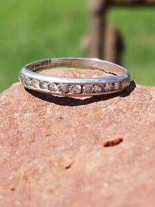 VTG ESTATE 10 DIAMOND PLATINUM 900 WEDDING ANNIVERSARY BAND RING