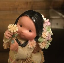 Friends of Feather by Enesco 1994 Smile Gatherer Indian Girl w Flower Figurine