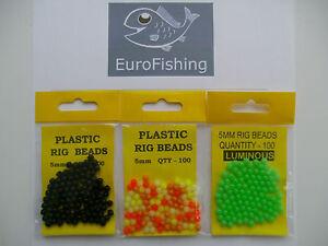 100 x 5mm  PLASTIC RIG BEADS - BLACK / MIXED COLOURS / LUMI GREEN