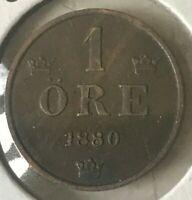 1880 Sweden 1 Ore - KM #750 - Nice Extra Fine