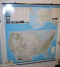 USGS United States General Reference Wall Map *46x42* Laminated w/Hanging Rails