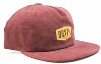 Brixton Mens Malt MP Corduroy Snapback Hat Maroon One Size New