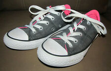 Converse Kids Youth Junior All Star Size 13 Dark Gray Grey Canvas Pink Inside