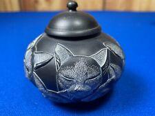 Jardinia Royal Family by Harmony Kingdom Black Pot or Box with Multiple Cats.