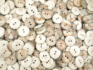 10 X 20MM 2 HOLES COAT JACKET BURNT LOOK BROWN SEWING BUTTONS