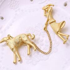 Gold Vintage Elegant Lady with Dog Metal Enamel Brooch Pin Jacket Decor Gift LE