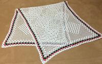 Vintage Hand Crocheted Dresser Scarf Or Table Runner, White, Geometric Design