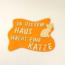 Türschild für Katzenfreunde Katze Holzschild, Wandschild, Spruch Geschenk orange