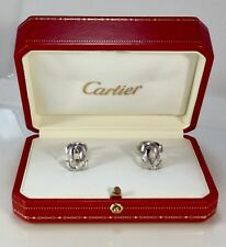 CARTIER 18K WHITE GOLD PENELOPE DOUBLE C CUFFLINKS MINT CONDITION PURE GRACE
