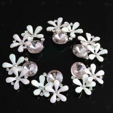 10x Alloy Pink Crystal Flower Buttons Jewelry Findings DIY Hair Accessories