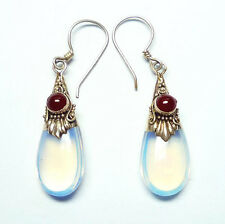 Faux Moonstone Sterling Silver Earrings with Carnelian