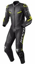 TUTA INTERA LEATHER SUIT MOTO REV'IT REVIT MASARU PELLE NERO BLACK YELLOW TG 50