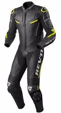 TUTA INTERA LEATHER SUIT MOTO REV'IT REVIT MASARU PELLE NERO BLACK YELLOW TG 52