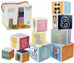 Baby Large Nesting & Stacking Blocks Cubes Set Numbers, Animals, Shapes & Colors