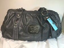 Kathy Van Zeeland Snake Embossed Washed Napa ZIP Top Satchel Purse Handbag Steel