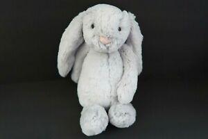 """Jellycat London Medium Bashful Bunny Silver Gray Grey Rabbit 11"""" Medium Plush"""