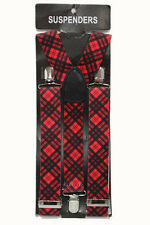 Thick Tartan Red Check Adjustable Braces Mens Women Fancy Dress Clip On Slim 2.5