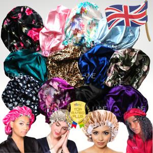 Satin Double Bonnet Night Sleep Cap Hair Cover Turban Hat Head Care Beanies | UK