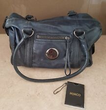 Genuine Mimco Mim Zip Top Indigo/Navy Blue Leather Bag RRP $399