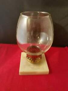 """Hurricane Clear Glass Candle Holder w/ Resin Base 7.5""""H Antique Vintage"""