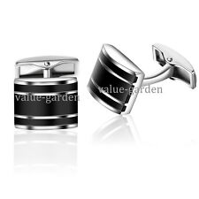 Honey Bear Stainless Steel Business Shirt Black Rectangle Wedding Cufflinks