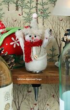 POTTERY BARN FELT SNOWMAN BOTTLE STOPPER -NWT- YIPPEE! IT'S THE HOLIDAY SEASON!